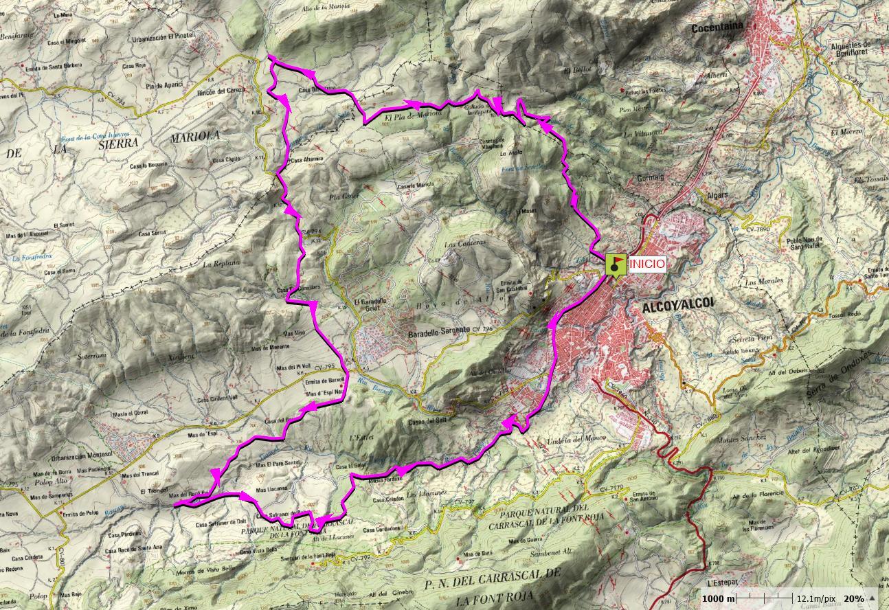 Mapa de la Ruta por la Sierra de Mariola
